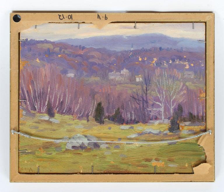 Antique American Impressionist Landscape Snow River Original Oil Painting  For Sale 3