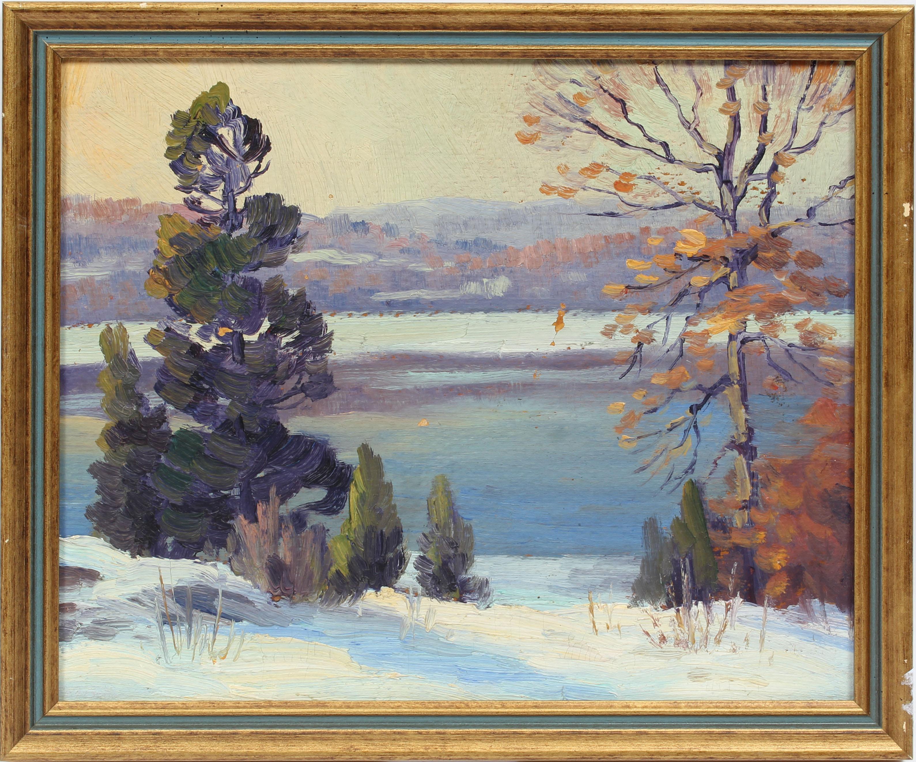 Antique American Impressionist Landscape Snow River Original Oil Painting