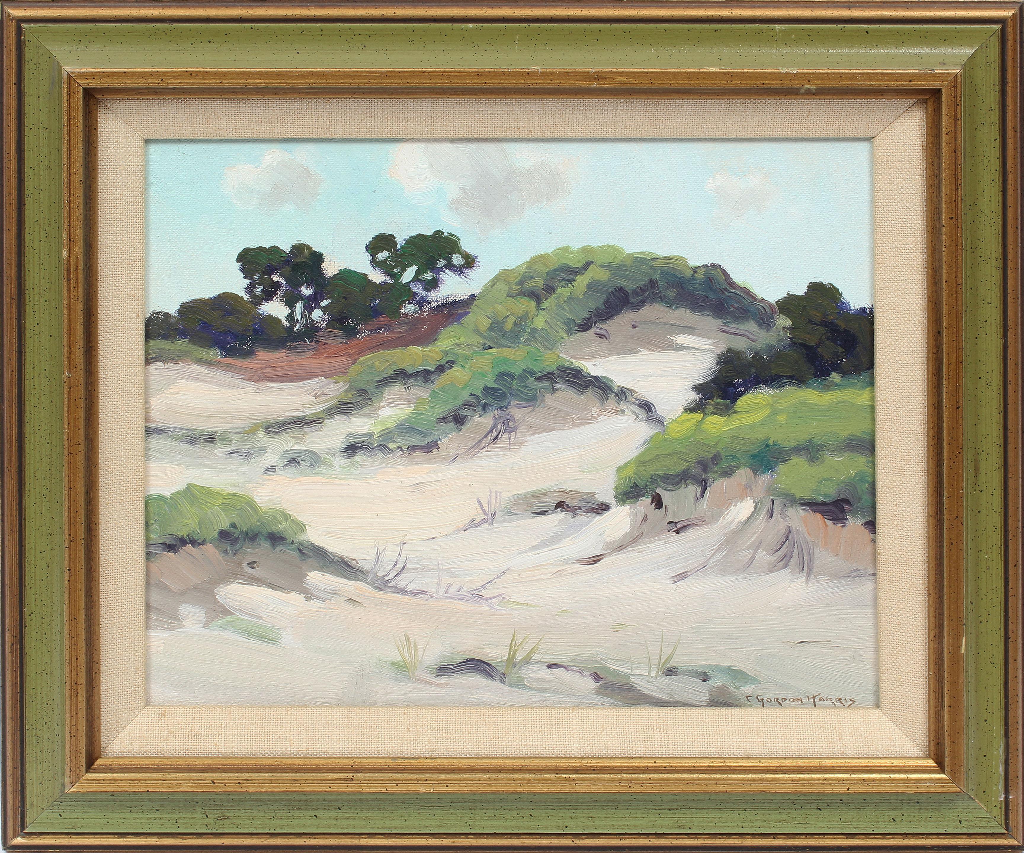 Antique American Impressionist Seascape Beach Dune Signed Original Oil Painting