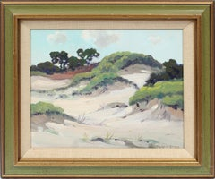 Antique American Impressionist Seascape Beach Dune Signed Original Oil Painting