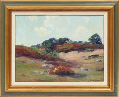 Antique American Impressionist Summer Signed Landscape Original Oil Painting