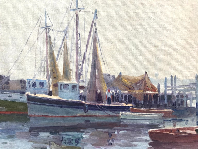 """Port of Galilee, Narragansett"" - Painting by Charles Gordon Harris"