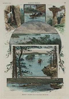 """""""Sketches in Wisconsin,"""" Hand-colored Wood Engraving signed by Charles Graham"""