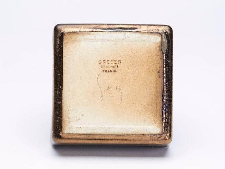 Charles Greber, French High Fired Stoneware Lustre Dish, 1899-1933 For Sale 3