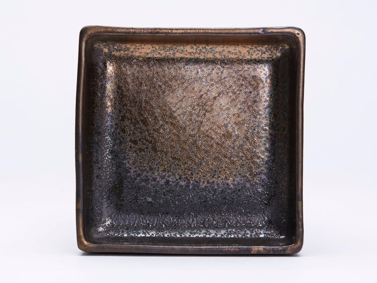 Art Nouveau Charles Greber, French High Fired Stoneware Lustre Dish, 1899-1933 For Sale