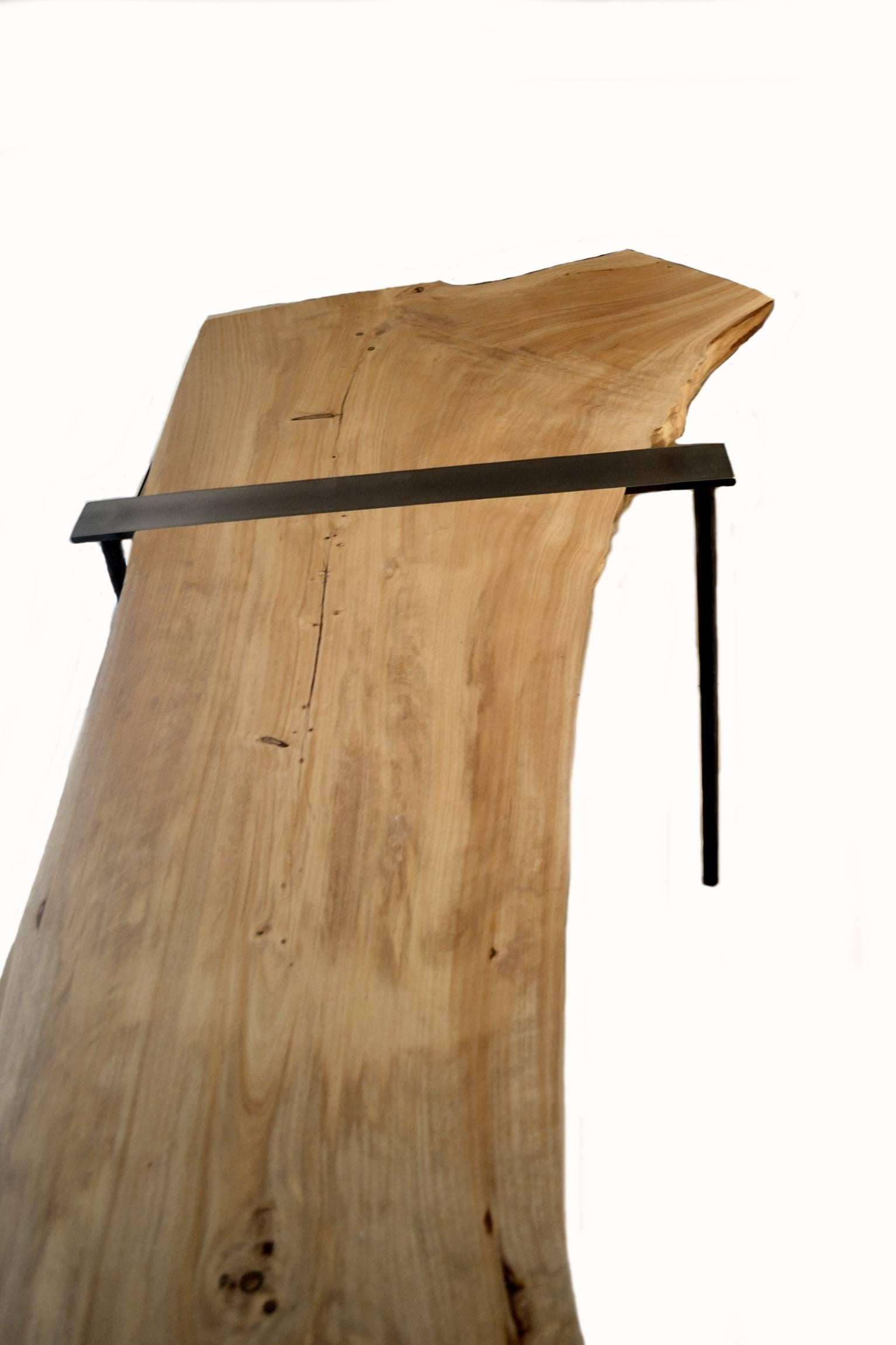 Genial American Charles Green Live Edge Wood Slab And Steel Console Table For Sale