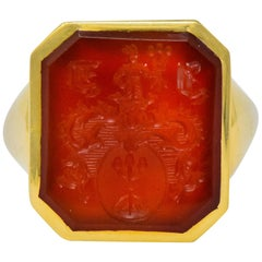 Charles Green & Son English Carnelian Intaglio 18 Karat Gold Unisex Signet Ring