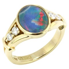 Charles Greig Black Opal 18kt Gold Ring with Diamond Accents