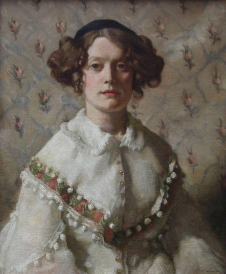 Priscilla - Art deco portrait British artist oil painting woman calot hat