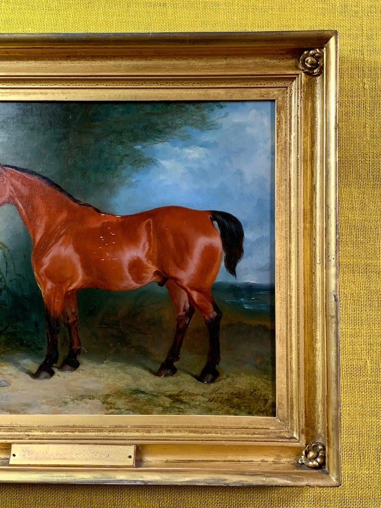 19th century oil on canvas a Bay Horse and a Terrier in an Landscape For Sale 2