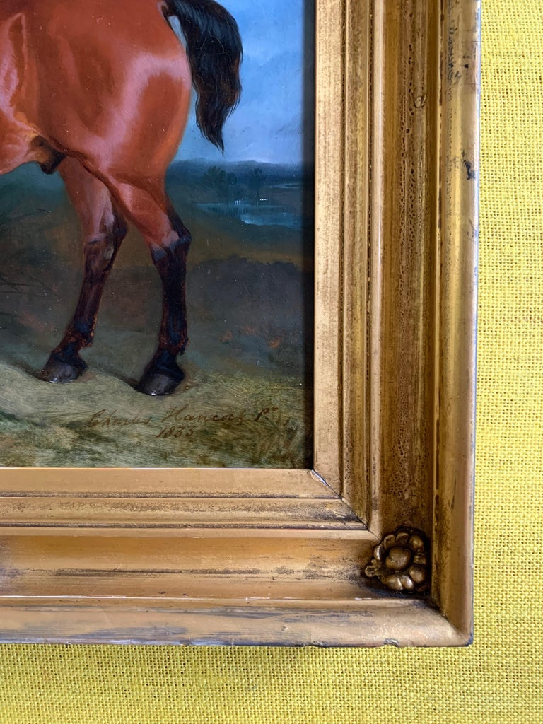 19th century oil on canvas a Bay Horse and a Terrier in an Landscape For Sale 3