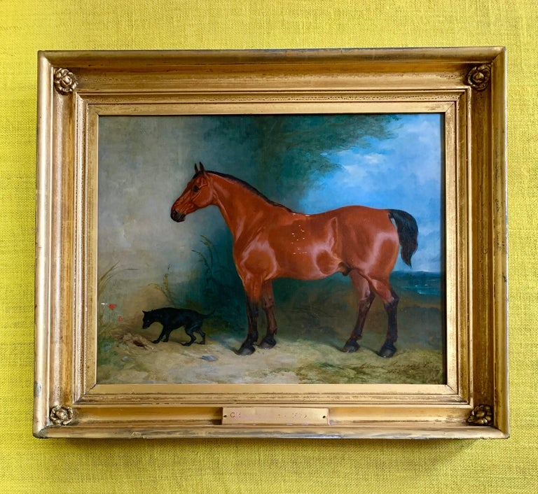 19th century oil on canvas a Bay Horse and a Terrier in an Landscape For Sale 4