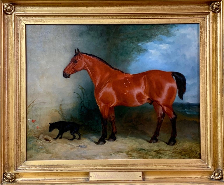 19th century oil on canvas a Bay Horse and a Terrier in an Landscape For Sale 5