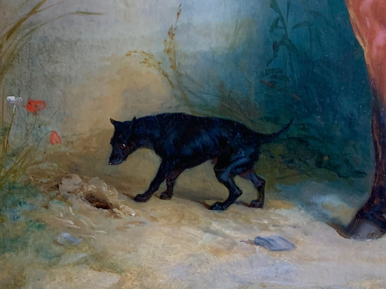 19th century oil on canvas a Bay Horse and a Terrier in an Landscape For Sale 6