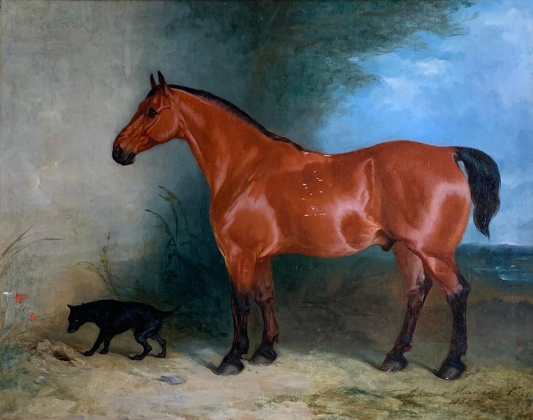 A BAY COBB AND A TERRIER IN A LANDCAPE - BY CHARLES HANCOCK (1795 - 1868)   Period portraits are thrilled to offer this fine and rare oil on canvas of a Bay Cobb and a Terrier in a Lansdcape. Signed Charles Hancock Pinxt and dated 1833 lower