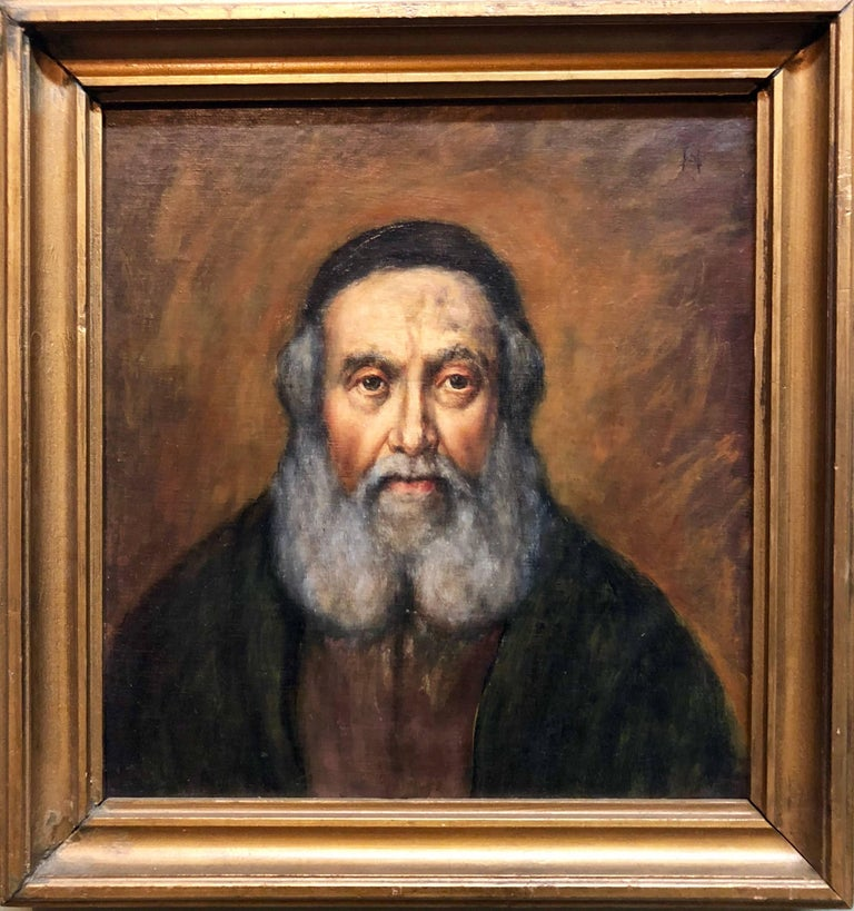 Signed with monogrammed initials and has his name written on verso. Realistic portrait of an older rabbi.   CHARLES E. HANNAFORD,  English; 1863-1955, Hannaford was a British watercolour artist who specialised in Cornwall, Devon and coastal views.