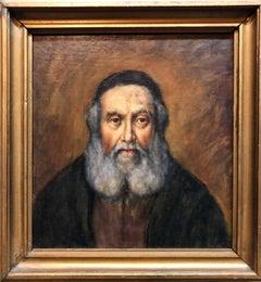 "Judaica ""The Rebbe'"" European Hasidic Rabbi Portrait Oil Painting"