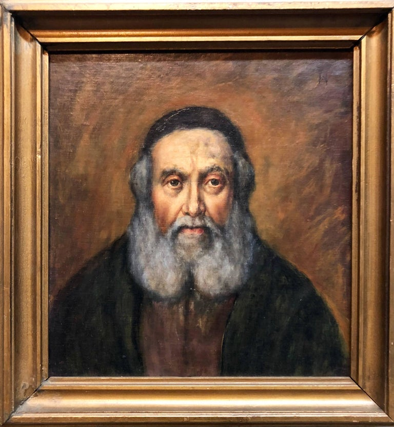 "Charles Hannaford Figurative Painting -  Judaica ""The Rebbe'"" European Hasidic Rabbi Portrait Oil Painting"