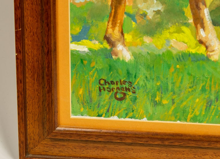 """Painting by famed American illustrator, Charles Hargens The painting features two horses - a mare and her foal in a grassy field. The back say Advertising for Weiller Co. Philapa Charles Hagens  Image size is 16"""" tall by 20"""" wide.  It was"""
