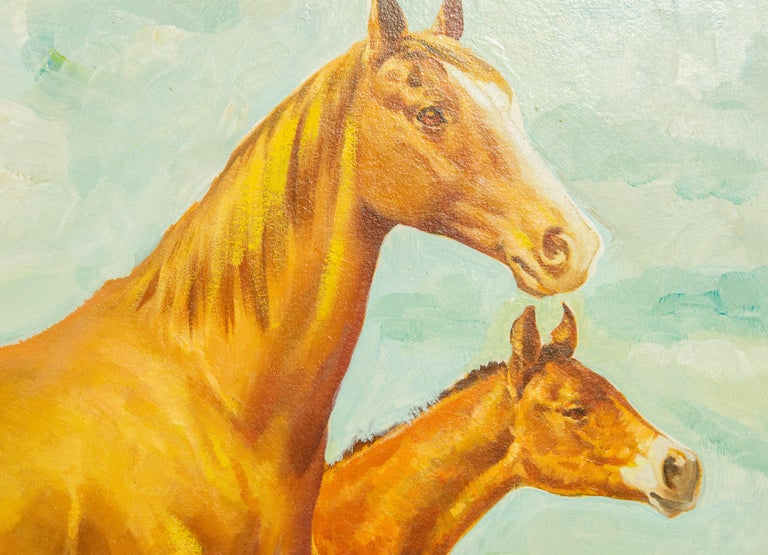 American Charles Hargens Mare and Foal Horse Painting on Board For Sale