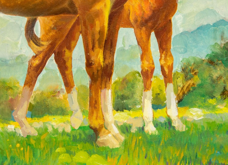 Charles Hargens Mare and Foal Horse Painting on Board In Good Condition For Sale In Miami Beach, FL