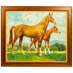 Charles Hargens Mare and Foal Horse Painting on Board