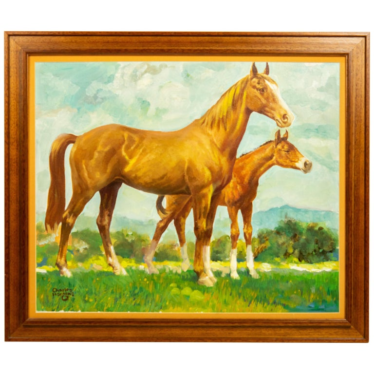 Charles Hargens Mare and Foal Horse Painting on Board For Sale
