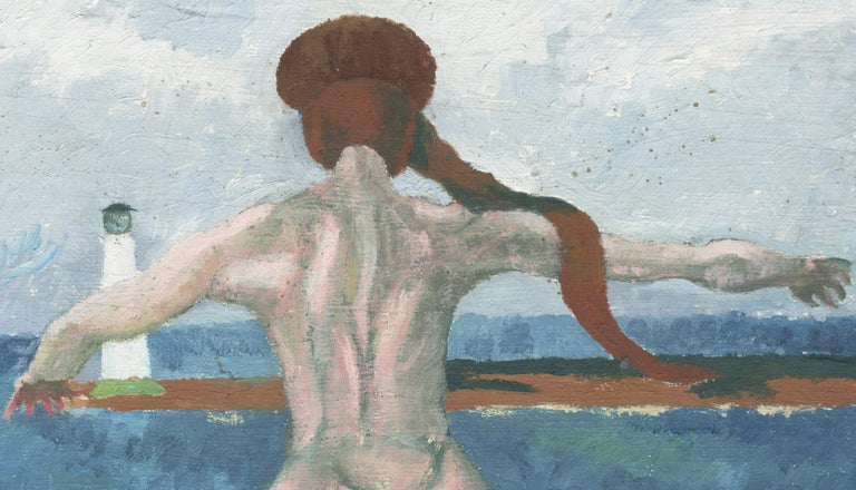 Untitled (Nude in front of light house, Lake Erie) - Painting by Charles Harris AKA Beni Kosh