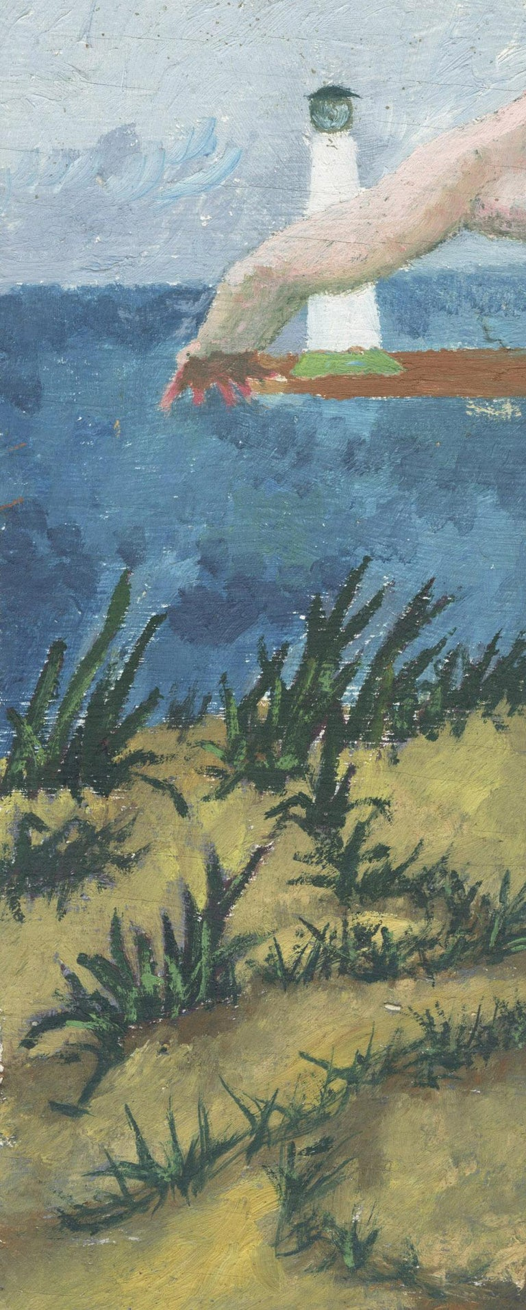 Untitled (Nude in front of light house, Lake Erie) - Gray Nude Painting by Charles Harris AKA Beni Kosh