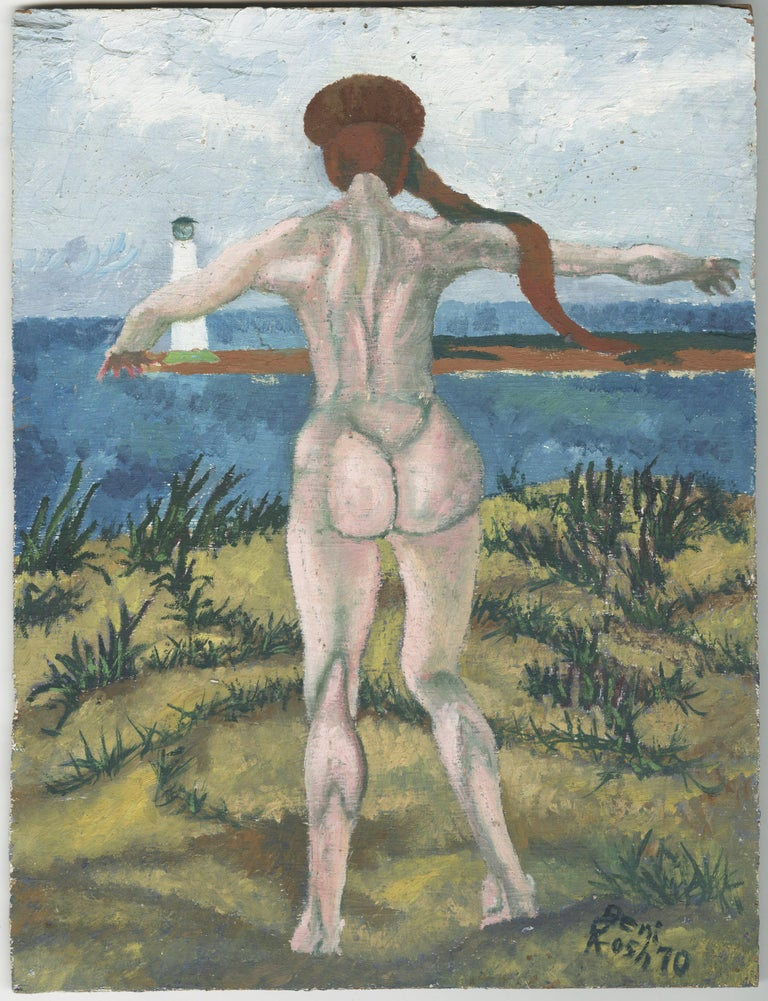 Charles Harris AKA Beni Kosh Nude Painting - Untitled (Nude in front of light house, Lake Erie)