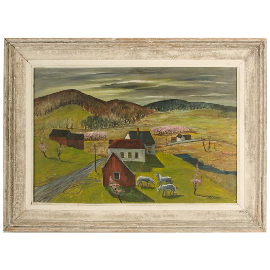 """Charles Harsanyi 'American, 1905-1973' """"peach orchard in the valley"""""""