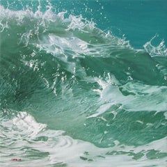 """ocean landscape, """"Green Wave on a Teal Sea"""" (Photorealism)"""