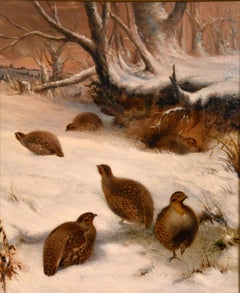 "Oil painting by Henry Grant ""Partridges in the Snow"""