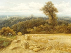 19th Century Harvestime Landscape Oil Painting by Charles H. Passey