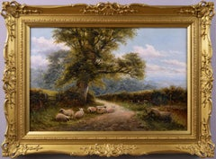 19th Century landscape oil painting of sheep in a lane
