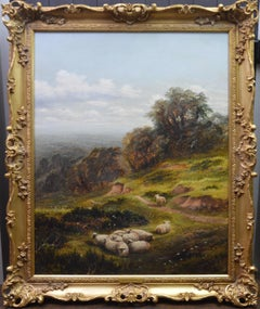 In the Surrey Hills - 19th Century English Summer Landscape Oil Painting