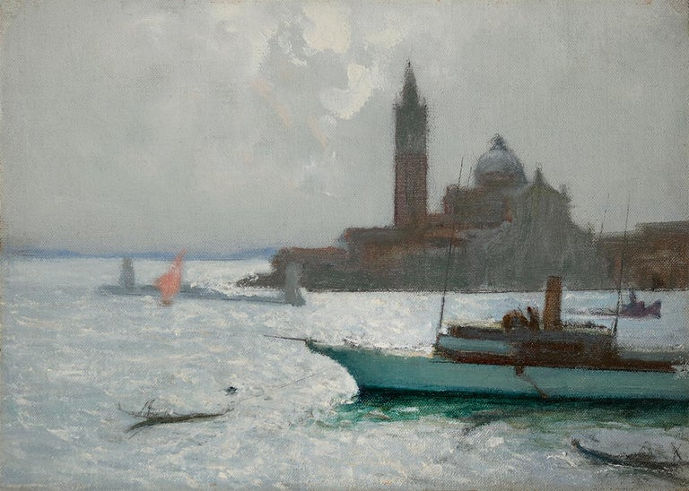 Charles Hoffbauer Landscape Painting - The Lagoon, Venice