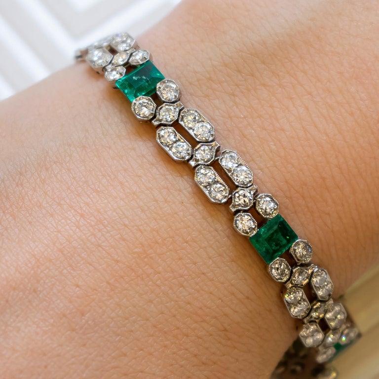 Emerald Cut Charles Holl French Art Deco Emerald Diamond and Platinum Bracelet, circa 1935 For Sale