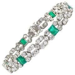 Charles Holl French Art Deco Emerald, Diamond and Platinum Bracelet, Circa 1935