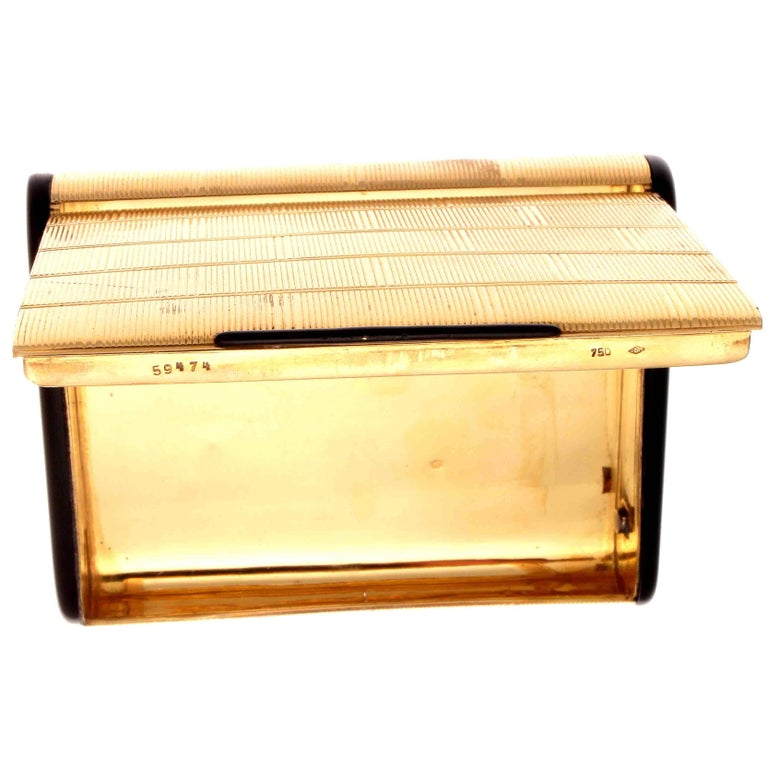 Round Cut Charles Holl French Gold Onyx Box For Sale