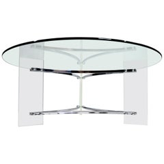 Charles Hollis Jones Acrylic Lucite and Chrome Coffee Table