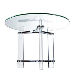 Charles Hollis Jones Acrylic Lucite and Chrome Cocktail Table with New Glass Top