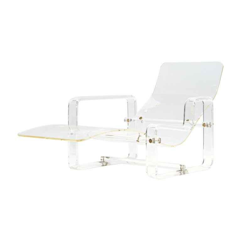 Charles Hollis-Jones Attributed Lucite Chaise For Sale