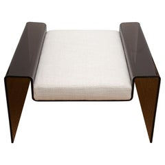 Charles Hollis Jones Attributed Smoked Lucite Bench with Off White Upholstery