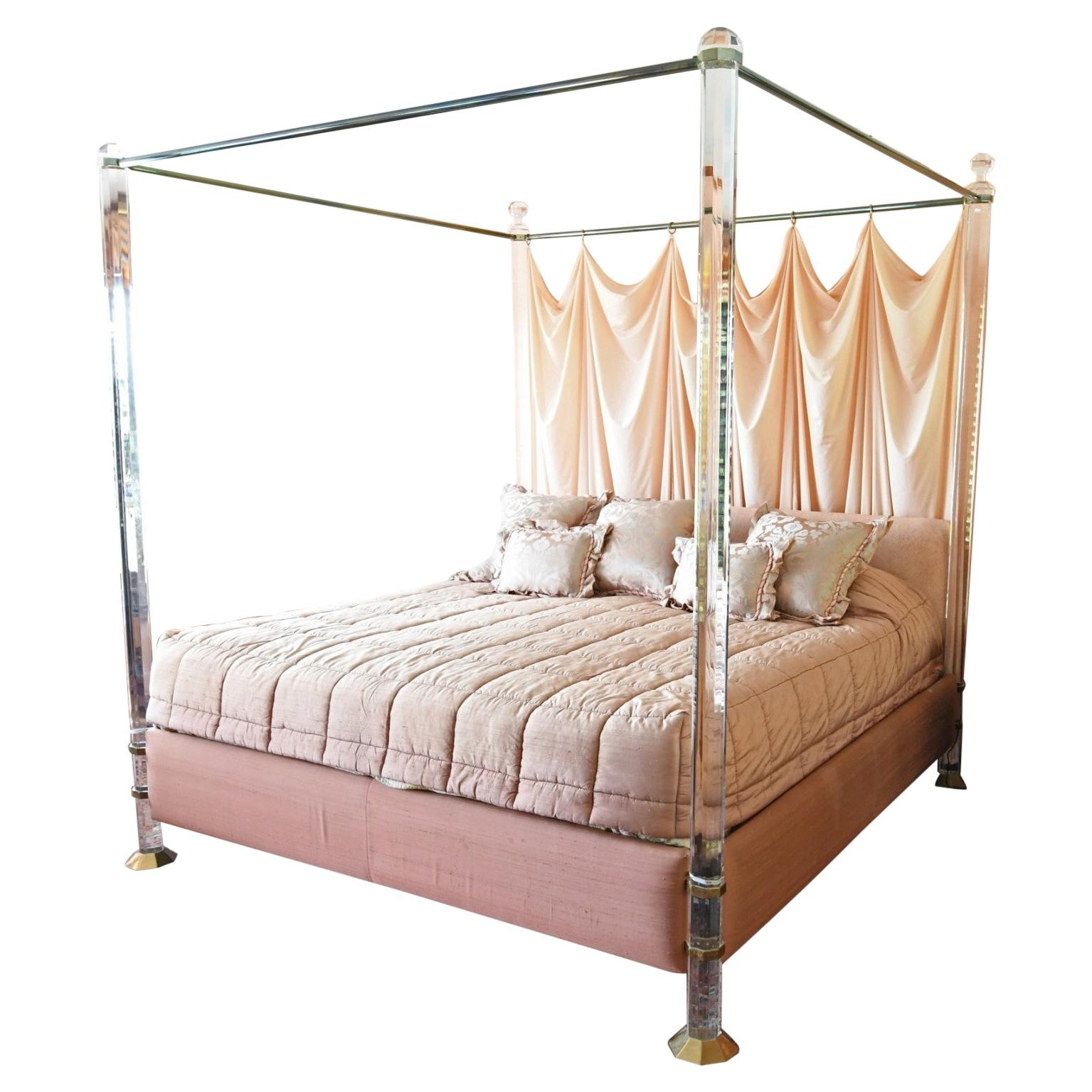 """Charles Hollis Jones """"Bob Hope"""" King-Size Bed in Lucite & Solid Brass"""