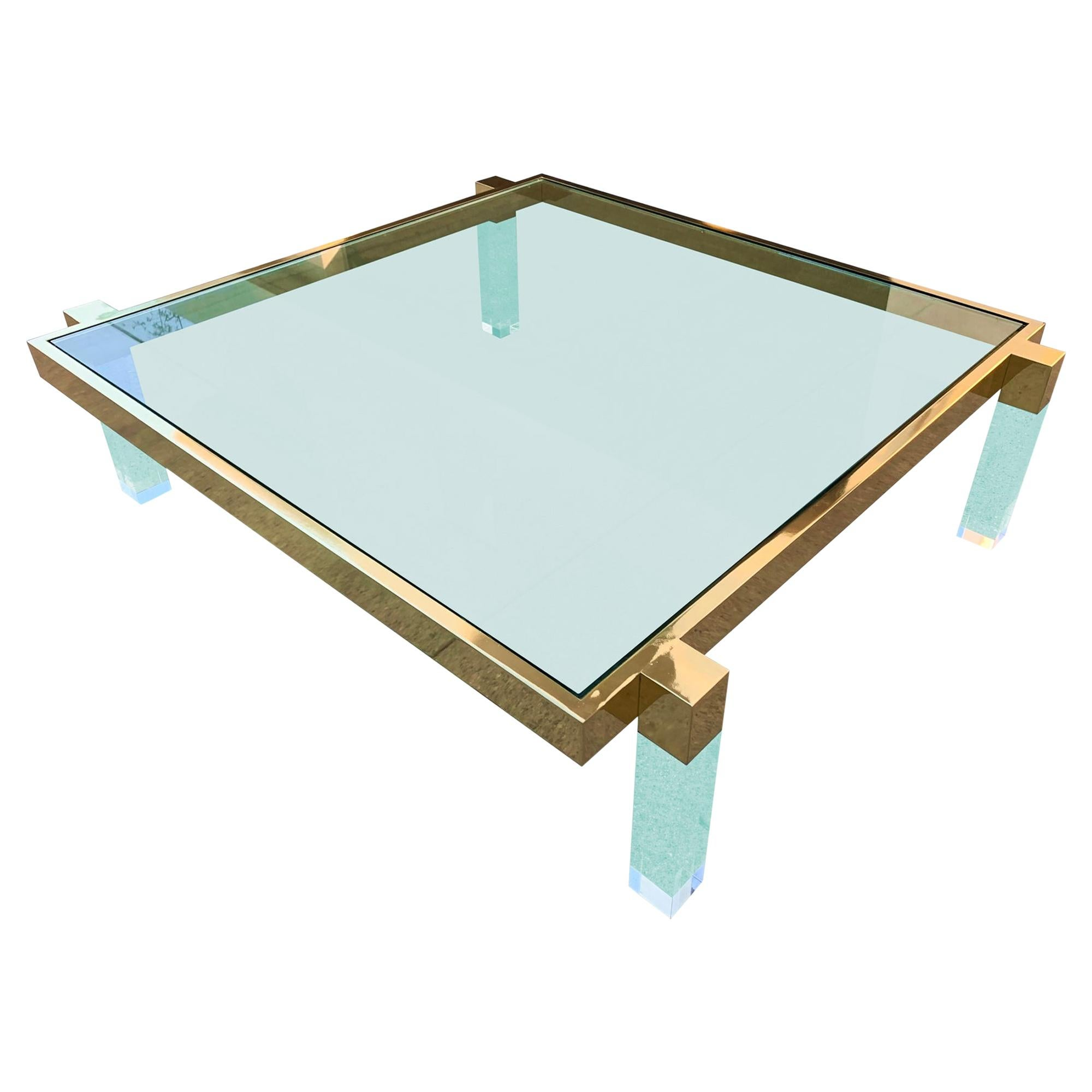 "Charles Hollis Jones ""Box Line"" Coffee Table in Lucite and Polished Brass"