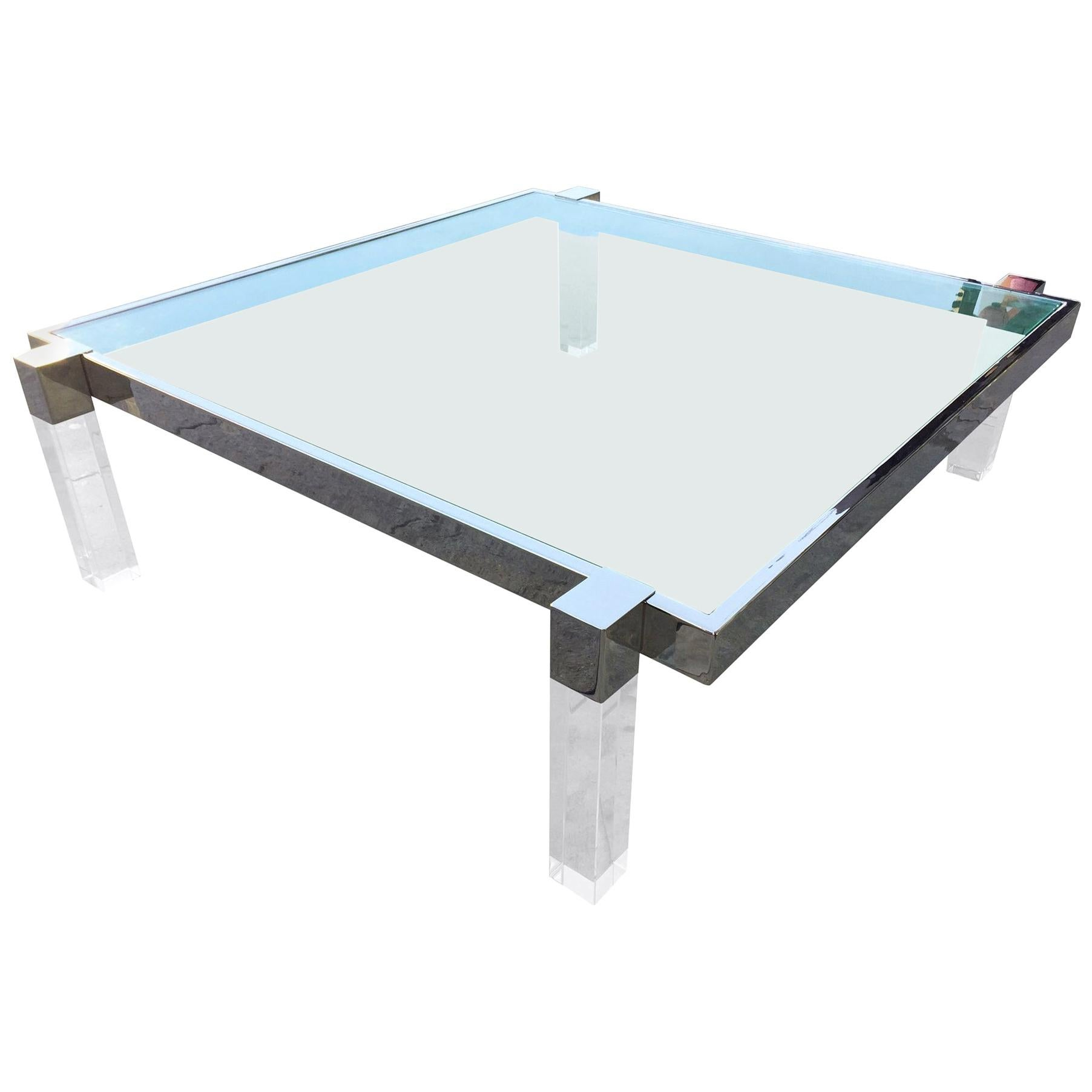 "Charles Hollis Jones ""Box Line"" Coffee Table in Lucite and Polished Nickel"