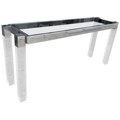 """Charles Hollis Jones """"Box Line"""" Console Table in Lucite and Polished Nickel"""