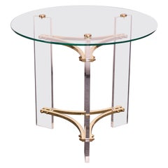 Charles Hollis Jones Brass and Lucite Accent Table with Glass Top