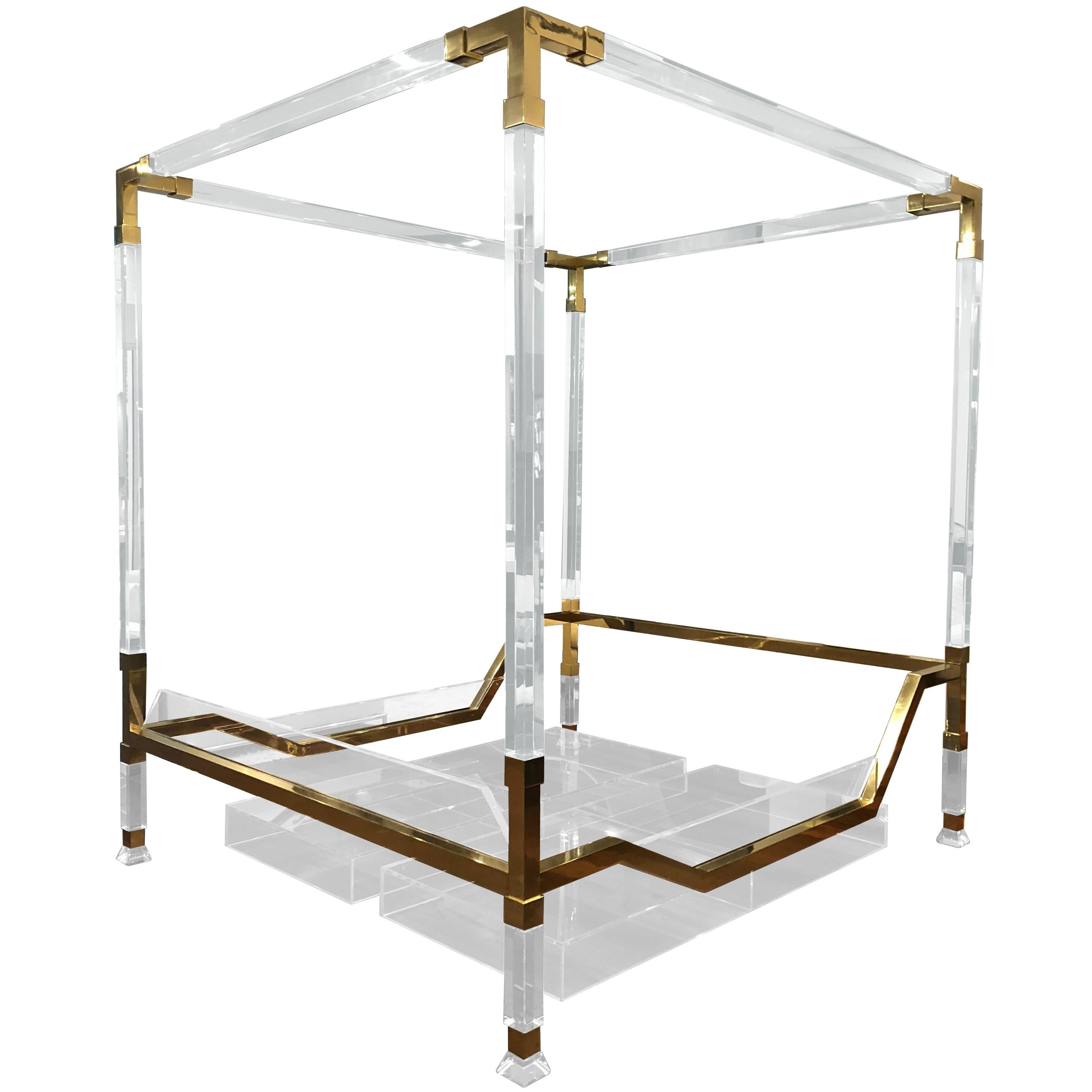 """Charles Hollis Jones Brass and Lucite """"Metric"""" King-Size Poster Bed"""